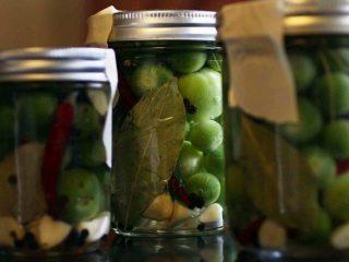 Простой рецепт мелких зеленых маринованных помидоров