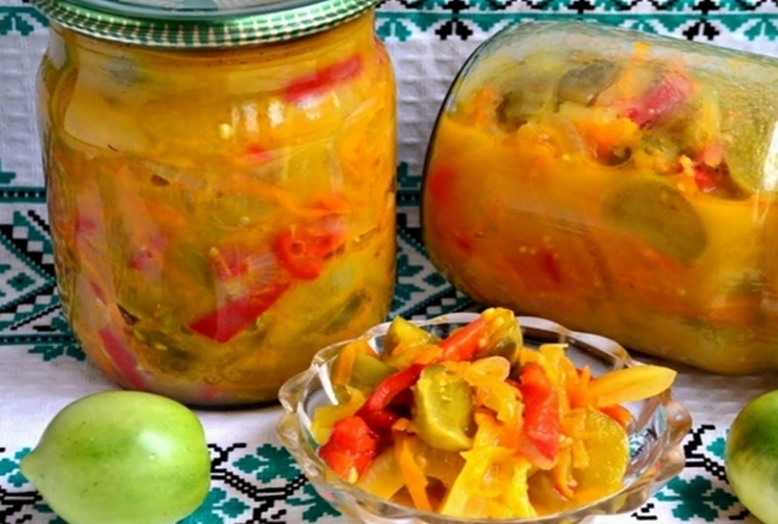Салат из помидор и лука и моркови на зиму рецепты