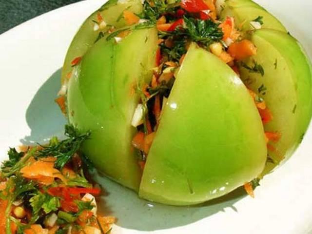 Рецепт квашеных зеленых помидор с начинкой