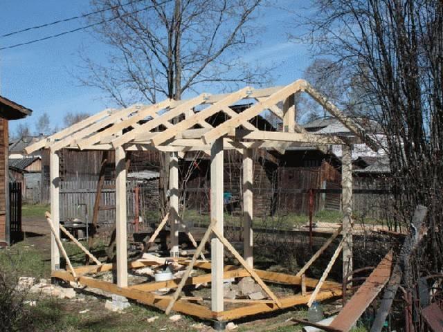 Двускатная крыша для беседки